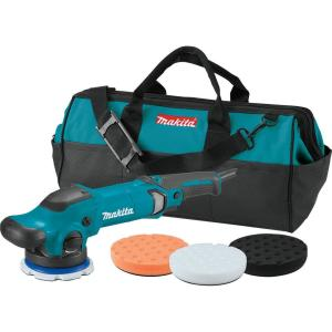 Makita 5 inch Dual Action Random Orbit Polisher with Foam Pads and Bag by