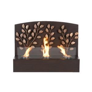 Southern Enterprises Vine 25 in. Wall Mount Gel Fuel Fireplace in Textured Espresso with Antique Bronze Accents