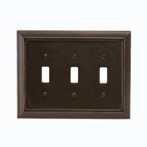 Amerelle Distressed 3 Toggle Wall Plate - Black