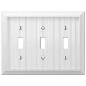 Cottage 3-Gang Toggle Wall Plate - White