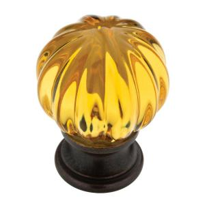 1-1/4 in. Statuary Bronze with Amber Acrylic Ridge Ball Cabinet Knob