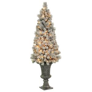 6.5 ft. Pre-Lit Snow Flocked Artificial Christmas Tree with Clear Lights-DISCONTINUED