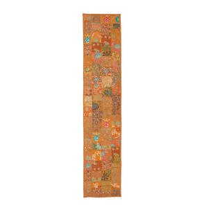 LR Resources Timbuktu 16 inch H x 80 inch W Hand Crafted Orange Cotton and Poly Recycled Sari Table Runner by