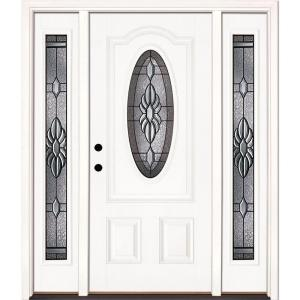 Feather River Doors Sapphire 3/4 Oval Primed Smooth Fiberglass Entry Door with Sidelites
