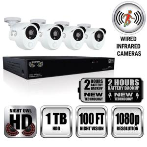 Night Owl Security Integrated Battery Backup 8 Channel 4-Camera 1080p HD Video Surveillance System