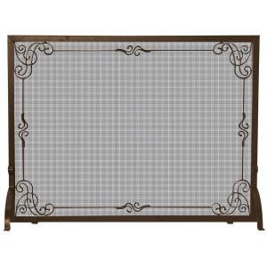 UniFlame Single-Panel Bronze Finish Fireplace Screen with Decorative Scroll