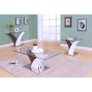 ACME Furniture Forest Coffee Table Clear Glass in White and Walnut by