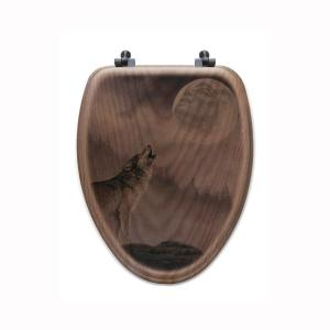 Kindred Spirit Elongated Closed Front Wood Toilet Seat in Oak Brown