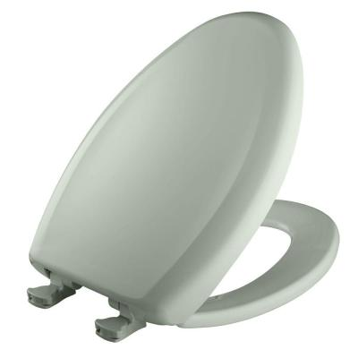 Slow Close STA-TITE Elongated Closed Front Toilet Seat in Sea Mist