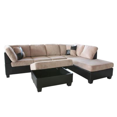 Venetian worldwide dallin sectional sofa with right for Taylor sectional sofa and ottoman dark brown