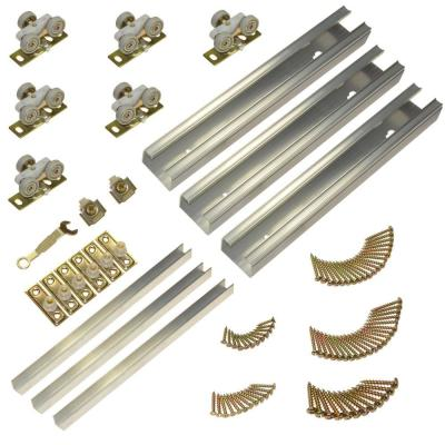 Johnson Hardware 100MD Series 94 in. Track and Hardware Set for 3-Door Multi-Slide Doors