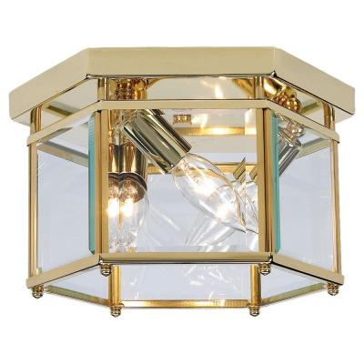 Sea Gull Lighting Bretton 3-Light Polished Brass Flush Mount Fixture 7648-02