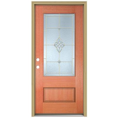 36 in. x 96 in. Rosemont 3/4 Lite Unfinished Mahogany Wood Prehung Front Door with Brickmould and Brass Caming Product Photo