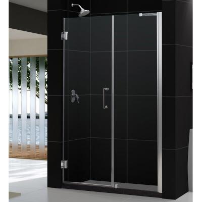 Unidoor 56 to 57 in. x 72 in. Semi-Framed Hinged Shower Door in Brushed Nickel Product Photo