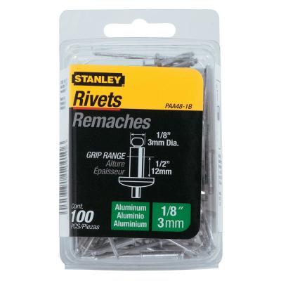 Stanley 1/8 in. x 1/2 in. Aluminum Rivets 100 Pack