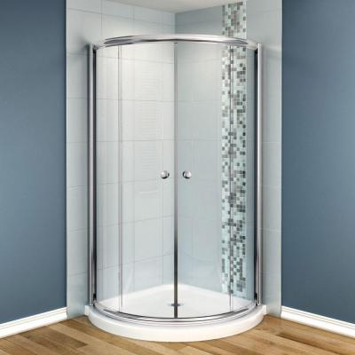 MAAX Tully 36 in. x 36 in. x 73 in. Round Shower Kit with Central Doors in Chrome with Clear Glass and Base in White