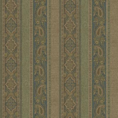56.4 sq. ft. Emerson Blue Paisley Stripe Wallpaper Product Photo