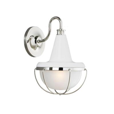 Feiss Livingston Collection 1-Light Hi Gloss White/Polished Nickel Outdoor Wall Lantern