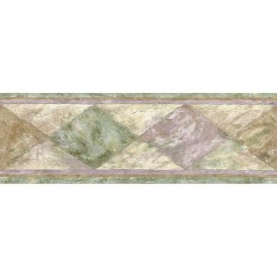 The Wallpaper Company 6.83 in. x 15 ft. Green Textured Harlequin Border