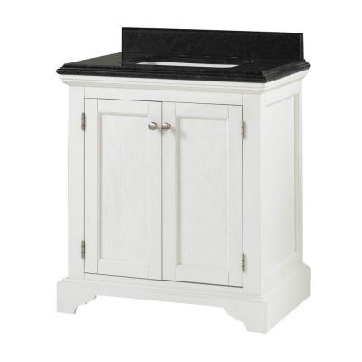 Home Decorators Collection Cedar Cove 30 in. Vanity in White with Granite Vanity Top in Blue Butterfly