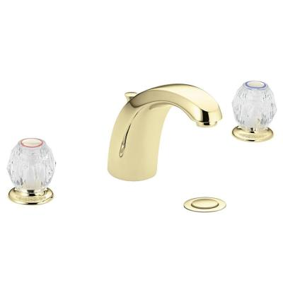 MOEN Chateau 8 in. Widespread 2-Handle Low-Arc Bathroom Faucet in Brass