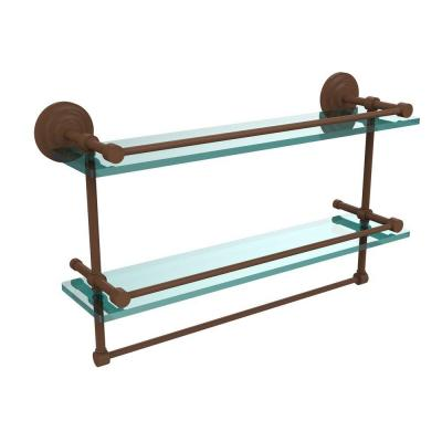 22 in. W Gallery Double Glass Shelf with Towel Bar in Antique Bronze Product Photo