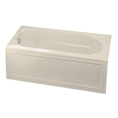 KOHLER Devonshire 5 ft. Left-Hand Drain with Integral Farmhouse Apron and Tile Flange Acrylic Bathtub in Almond