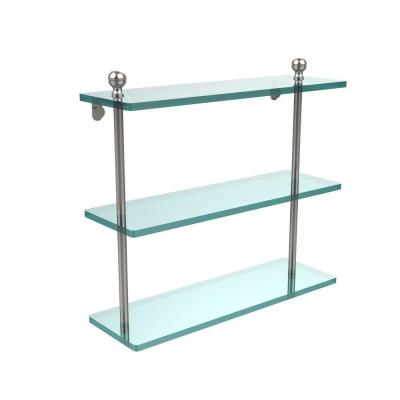 Mambo Collection 16 in. W Triple Tiered Glass Shelf in Satin