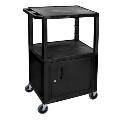 Luxor 24 in. x 18 in., A/V Utility Cart with 3-Shelves and Cabinet in Black