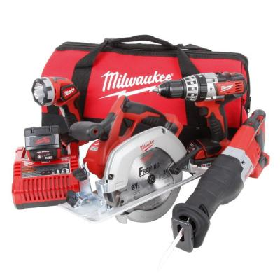 Milwaukee M18 18-Volt Lithium-Ion Cordless Hammer Drill/SAWZALL/Circular Saw/Light Combo Kit (4-Tool)