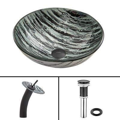 Glass Vessel Sink in Rising Moon and Waterfall Faucet Set in Matte Black Product Photo