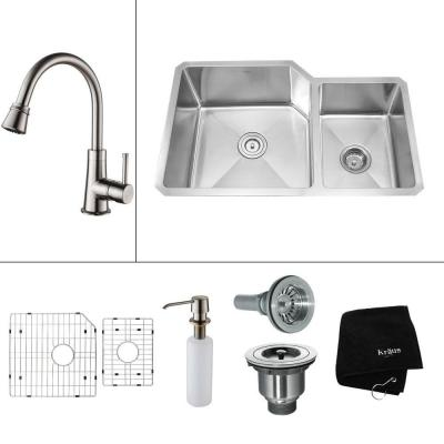 KRAUS All-in-One Undermount Stainless Steel 32x20x14 in. 0-Hole Double Bowl Kitchen Sink with Satin Nickel Accessories