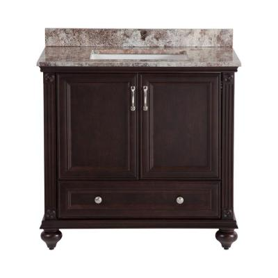 Home decorators collection annakin 36 in vanity in chocolate with stone effects vanity top in Home decorators collection 36 vanity