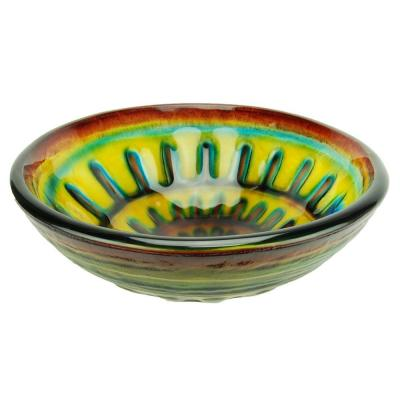 Fontaine Phantasy Spiral Glass Vessel Sink in Purple and Yellow-DISCONTINUED