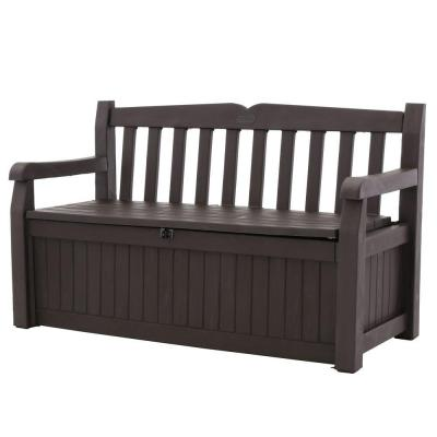 Keter Eden 70 Gal Bench Deck Box In Brown 213126 The Home Depot