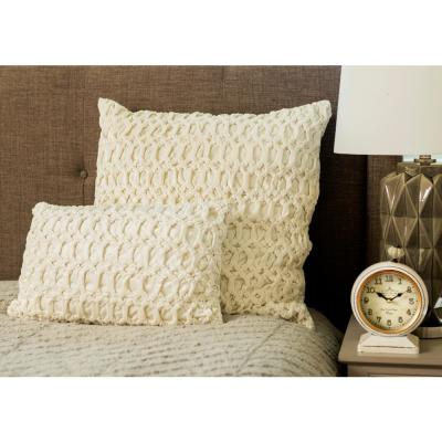 Cream-Colored Velvet Decorative Standard Pillow with Dimensional Trellis Pattern