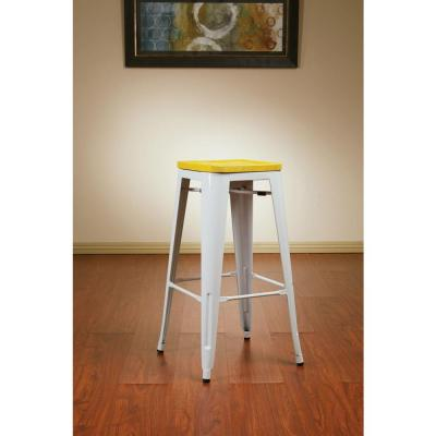 Work Smart Bristow 30 in. White Bar Stool (Set of 4)
