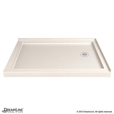 SlimLine 34 in. x 48 in. Double Threshold Shower Base in Biscuit with Right Hand Drain Product Photo