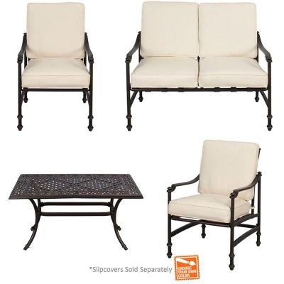 Niles Park 4-Piece Patio Deep Seating Set with Cushion Insert (Slipcovers