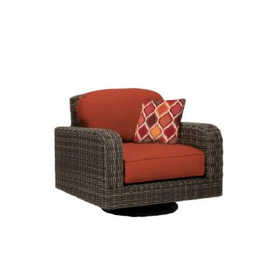 Northshore Patio Motion Lounge Chair in Cinnabar with Empire Chili Throw