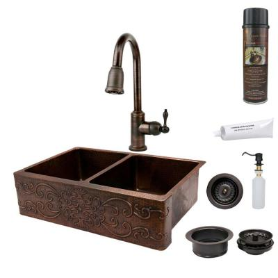 All-in-One Undermount Copper 33 in. 0-Hole 50/50 Double Bowl Kitchen Sink