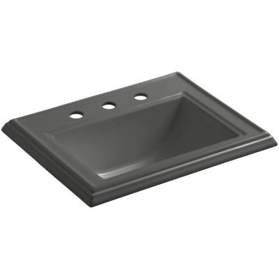 Memoirs Drop-In Vitreous China Bathroom Sink in Thunder Grey with Overflow