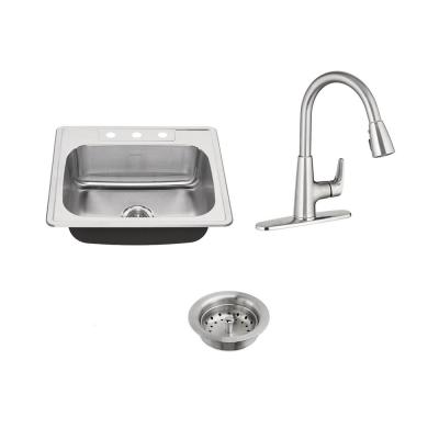 American Standard Colony All-in-One Drop-In Stainless Steel 25 in. 3-Hole Single Bowl Kitchen Sink with Faucet in Stainless Steel