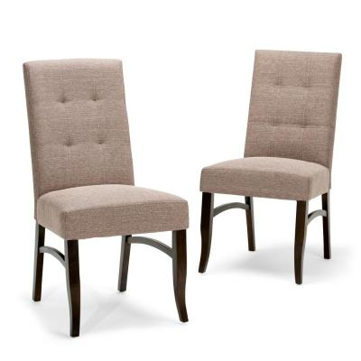 Ezra Linen Look Fabric Upholstery Dining Chair in Fawn Brown (2-Pack)
