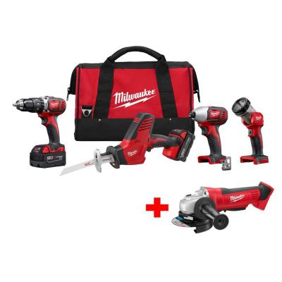 Milwaukee M18 18-Volt Lithium-Ion Cordless Hammer Drill/Hackzall/Impact/Grinder/Light Combo Kit (5-Tool)