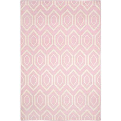 Safavieh Dhurries Pink/Ivory 6 ft. x 9 ft. Area Rug