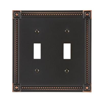 Traditional 2 Toggle Wall Plate - Aged Bronze Product Photo