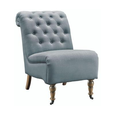 Cora Linen Roll Back Tufted Side Chair in Washed Blue Product Photo
