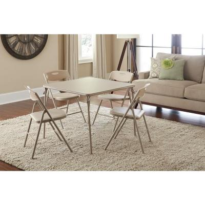 5-Piece Folding Table and Chair Set in Antique Linen