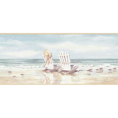 The Wallpaper Company 9 in. x 15 ft. Blue and Beige Beach Scene Border